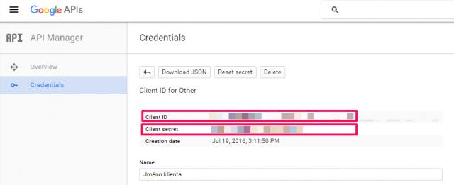 Autentifikace přístupu k API přes Google Developers Console